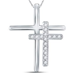 Womens Round Diamond Double Cross Pendant 1/10 Cttw 14kt White Gold - REF-8A5M