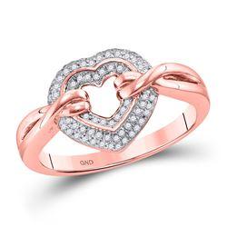 Womens Round Diamond Heart Ring 1/5 Cttw 10kt Rose Gold - REF-23F5W