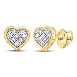 Womens Round Diamond Heart Earrings 1/20 Cttw 10kt Yellow Gold - REF-7X9A
