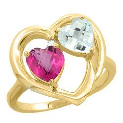 2.61 CTW Diamond, Pink Topaz & Aquamarine Ring 14K Yellow Gold - REF-38W2F