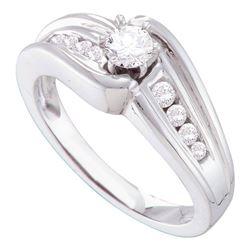 Round Diamond Solitaire Bridal Wedding Engagement Ring 3/8 Cttw 14kt White Gold - REF-56W5K