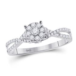 Round Diamond Cluster Bridal Wedding Engagement Ring 1/3 Cttw 10kt White Gold - REF-21N5F