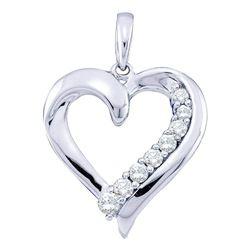 Womens Round Diamond Heart Pendant 1/4 Cttw 10kt White Gold - REF-17R5X