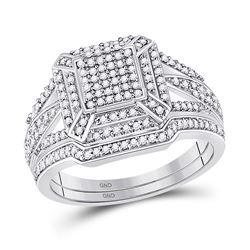 Diamond Cluster Bridal Wedding Ring Band Set 1/2 Cttw 10kt White Gold - REF-35R5X