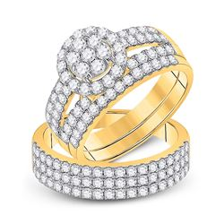 His Hers Round Diamond Cluster Matching Wedding Set 2-1/3 Cttw 14kt Yellow Gold - REF-153Y5N
