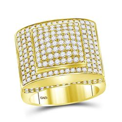 Mens Round Diamond Square Ring 3-3/4 Cttw 14kt Yellow Gold - REF-241R5X