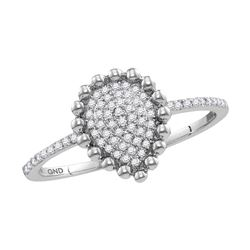 Womens Round Diamond Cluster Teardrop Ring 1/8 Cttw 10kt White Gold - REF-10X5A