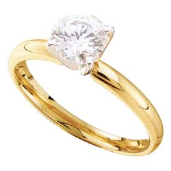 Womens Round Diamond Solitaire Bridal Wedding Engagement Ring 7/8 Cttw 14kt Yellow Gold - REF-172A9M