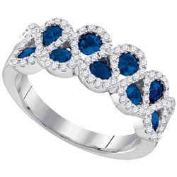 Womens Round Blue Sapphire Diamond Band Ring 1-1/3 Cttw 14kt White Gold - REF-85R5X