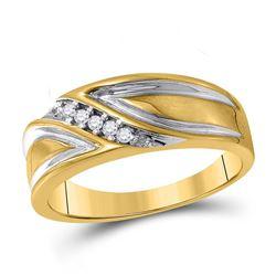 Mens Round Diamond Wedding Diagonal Band Ring 1/10 Cttw 10kt Yellow Gold - REF-22R5X
