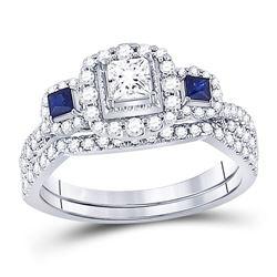 Princess Diamond Bridal Wedding Ring Band Set 7/8 Cttw 14kt White Gold - REF-93W9K