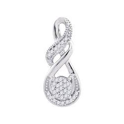 Womens Round Diamond Cluster Teardrop Pendant 1/12 Cttw 10kt White Gold - REF-8K9Y