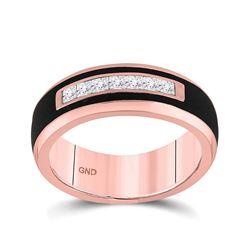 Mens Princess Diamond Band Ring 1/2 Cttw 14kt Rose Gold - REF-76N5F