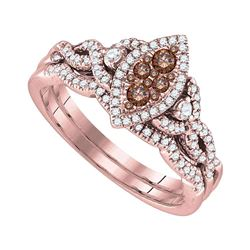 Womens Round Brown Diamond Bridal Wedding Ring Band Set 1/2 Cttw 14kt Yellow Gold - REF-67R5X