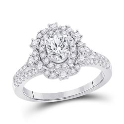 Oval Diamond Solitaire Bridal Wedding Engagement Ring 1-1/4 Cttw 14kt White Gold - REF-175A5M