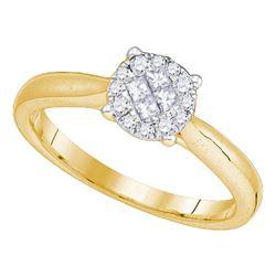 Princess Round Diamond Cluster Bridal Wedding Engagement Ring 1/4 Cttw 14kt Yellow Gold - REF-31Y5N