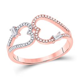Womens Round Diamond Double Heart Ring 1/5 Cttw 14kt Rose Gold - REF-21R9X