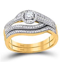 Round Diamond Halo Bridal Wedding Ring Band Set 3/8 Cttw 10kt Yellow Gold - REF-44X5A