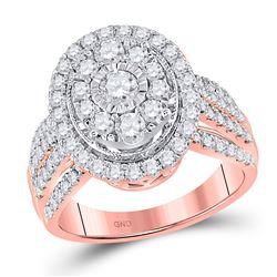 Round Diamond Oval Bridal Wedding Engagement Ring 1-1/2 Cttw 14kt Rose Gold - REF-115R9X