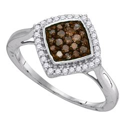 Womens Round Brown Diamond Diagonal Square Cluster Ring 1/3 Cttw 10kt White Gold - REF-15K5Y