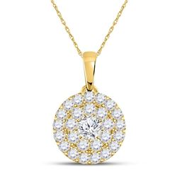 Womens Round Diamond Cluster Pendant 1/4 Cttw 10kt Yellow Gold - REF-16H9R