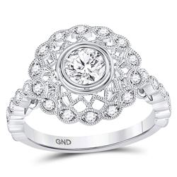 Round Diamond Solitaire Milgrain Bridal Wedding Engagement Ring 1 Cttw 14kt White Gold - REF-159W9K