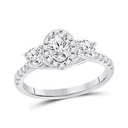 Oval Diamond 3-stone Bridal Wedding Engagement Ring 1-1/5 Cttw 14kt White Gold - REF-177N5F
