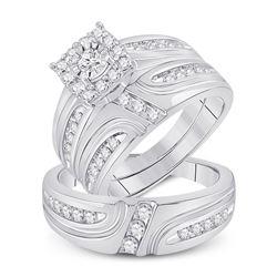 His Hers Round Diamond Cluster Matching Wedding Set 1 Cttw 14kt White Gold - REF-118W9K