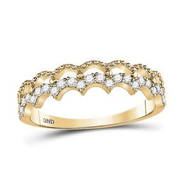 Womens Round Diamond Scalloped Stackable Band Ring 1/4 Cttw 10kt Yellow Gold - REF-19M5H