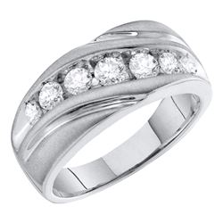 Mens Round Channel-set Diamond Single Row Wedding Band Ring 1 Cttw 10kt White Gold - REF-73M9H
