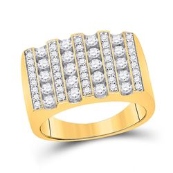 Mens Round Diamond Lined Fashion Ring 1-1/2 Cttw 10kt Yellow Gold - REF-90Y5N
