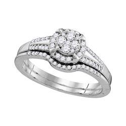 Round Diamond Bridal Wedding Ring Band Set 3/8 Cttw 10kt White Gold - REF-33N5F