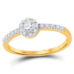 Round Diamond Solitaire Bridal Wedding Engagement Ring 1/4 Cttw 10kt Yellow Gold - REF-18M9H