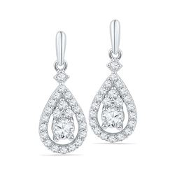 Womens Round Diamond Solitaire Teardrop Frame Dangle Earrings 1/2 Cttw 10kt White Gold - REF-38Y9N