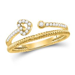 Womens Round Diamond Heart Stackable Band Ring 1/6 Cttw 10kt Yellow Gold - REF-18X9A