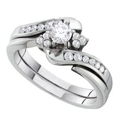Round Diamond Bridal Wedding Ring Band Set 1/2 Cttw 14kt White Gold - REF-74W9K