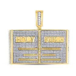 Mens Round Diamond Holy Bible Charm Pendant 1-3/4 Cttw 10kt Yellow Gold - REF-98F5W