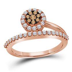 Womens Round Brown Diamond Cluster Ring 1/2 Cttw 10kt Rose Gold - REF-34W5K