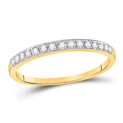 Womens Round Prong-set Diamond Slender Band 1/8 Cttw 14kt Yellow Gold - REF-20K5Y