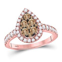 Womens Round Brown Diamond Teardrop Cluster Ring 1 Cttw 14kt Rose Gold - REF-67H5R