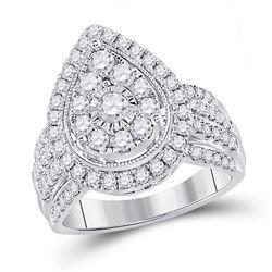 Womens Round Diamond Teardrop Cluster Ring 1-1/2 Cttw 14kt White Gold - REF-129Y5N