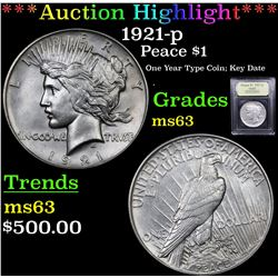 ***Auction Highlight*** 1921-p Peace Dollar $1 Graded Select Unc By USCG (fc)