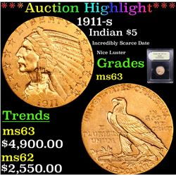 ***Auction Highlight*** 1911-s Gold Indian Half Eagle $5 Graded Select Unc By USCG (fc)