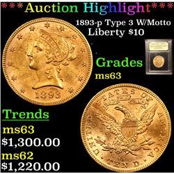 ***Auction Highlight*** 1893-p Type 3 W/Motto Gold Liberty Eagle $10 Graded Select Unc BY USCG (fc)
