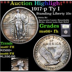 ***Auction Highlight*** 1917-p Ty I Standing Liberty Quarter 25c Graded GEM++ FH BY USCG (fc)