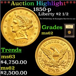 ***Auction Highlight*** 1850-p Gold Liberty Quarter Eagle $2 1/2 Graded Select Unc By USCG (fc)