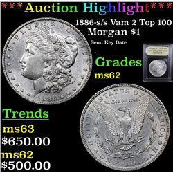 ***Auction Highlight*** 1886-s /s Vam 2 Top 100 Morgan Dollar $1 Graded Select Unc By USCG (fc)