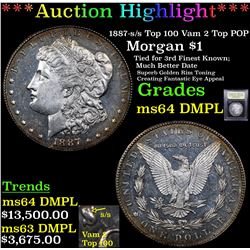 ***Auction Highlight*** 1887-s /s Top 100 Vam 2 Top POP Morgan $1 Graded Choice Unc DMPL BY USCG (fc