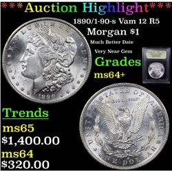 ***Auction Highlight*** 1890/1-90-s Vam 12 I2 R5 Morgan Dollar $1 Graded Choice+ Unc By USCG (fc)