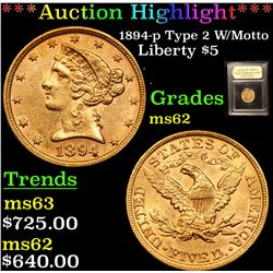 ***Auction Highlight*** 1894-p Type 2 W/Motto Gold Liberty Half Eagle $5 Graded Select Unc By USCG (